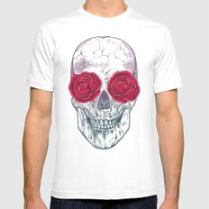 Skull & Roses White Mens Fitted Tee MEDIUM