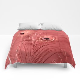 Red Feathers | Peacock Feathers | Nadia Bonello | Ottawa Canada Comforters