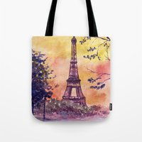 paris Tote Bags featuring Paris by Anna Shell