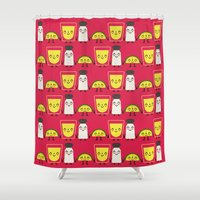 tequila Shower Curtains featuring lemon, tequila and salt by ValoValo
