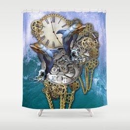 Steampunk Dolphin Time Shower Curtain