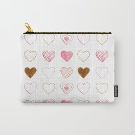 Pink and Gold Hearts Doodle Art Carry-All Pouch