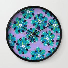 Blue Desert Rose Wall Clock