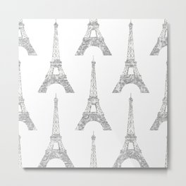 Silver Pattern Neck Gaiter Eifel Towers Silver Neck Gator Metal Print