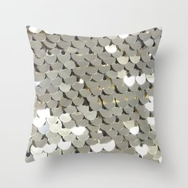 Shiny Silver Sequins Throw Pillow