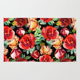 Hand painted black red watercolor roses floral Rug