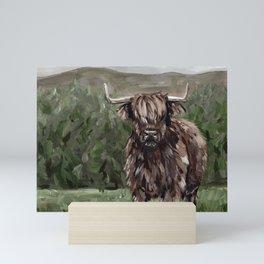 Highland Cow Painting, Landscape Acrylic Art Mini Art Print