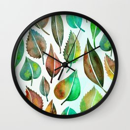 Late Summer Leaves Wall Clock