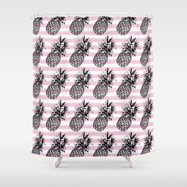 Pink Striped Pineapple Pattern Shower Curtain