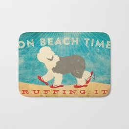 Beach Time Sheepdog by Stephen Fowler Bath Mat