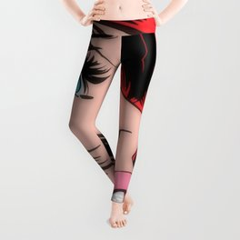 girl pop art woman Leggings