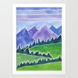 Purple Peace Mountains Watercolor Painting Art Print