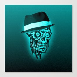 Elegant Skull with hat,mint Canvas Print