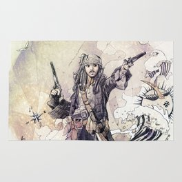 Jack Sparrow with double pistols Rug