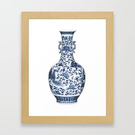 Blue & White Chinoiserie Porcelain Floral Vase with Flying Phoenix Framed Art Print