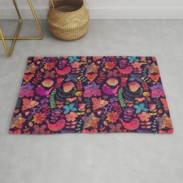 Watercolor birds and flowers Rug