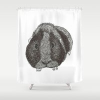 guinea pig Shower Curtains featuring Guinea Pig. by Elena O'Neill
