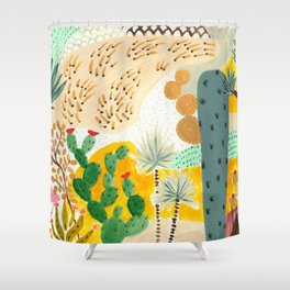 cacti garden Shower Curtain