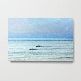 Seascape with kayaks watercolor Metal Print