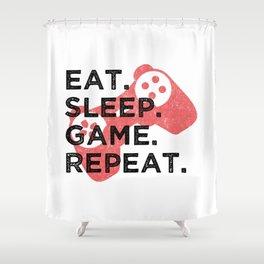 Eat. Sleep. Game. Repeat. T Shirt Gamer TShirt Video Game Shirt Eat Sleep Repeat Gift Idea Shower Curtain