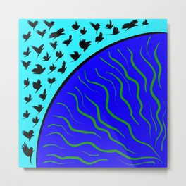 Flying Bird. Crows fly over planet Earth Metal Print