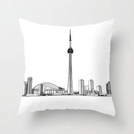 Toronto Skyline - Black on White Throw Pillow