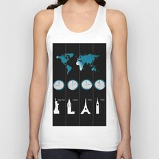 TIME ZONES. NEW YORK, LONDON, PARIS, TOKYO Unisex Tank Top