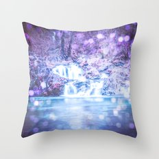 Waterfall - Nature Water Magical Blue Waterfall Throw Pillow