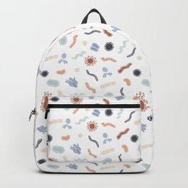 Vintage Microbiology - White Outlines on White Backpack