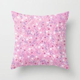 Strawberry Smoothie Paw Prints Throw Pillow