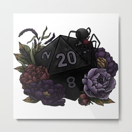 Drow D20 - Tabletop Gaming Dice Metal Print