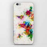 map iPhone & iPod Skins featuring Map of the World Map Paint Splashes by artPause