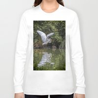 hunting Long Sleeve T-shirts featuring Egret Hunting by Chris Lord