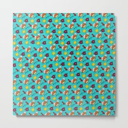 Hammy Pattern in Turquoise Metal Print