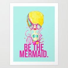 golden.  a happy mermaid Art Print
