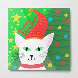 Christmas Cat short white hair green eyes Metal Print