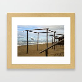 Winter beach Framed Art Print