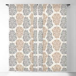 Liberty Floral Damask Pattern – Neutral Brown and Gray Earth Tones Blackout Curtain
