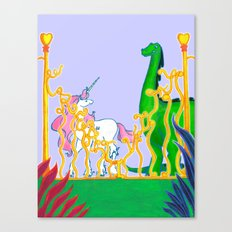 Eden of Creativity { The Unicorn & The Dinosaur } Canvas Print