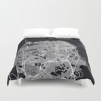 san francisco map Duvet Covers featuring San Francisco Map by chiams