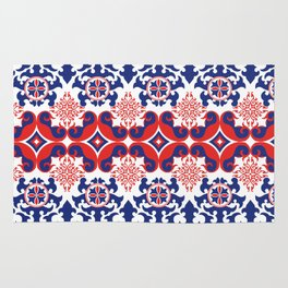 Asian red and blue pattern Rug