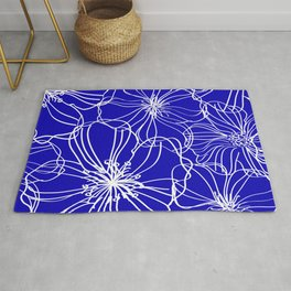 Floral, Line Art, Blue and White, Minimalist Art Rug
