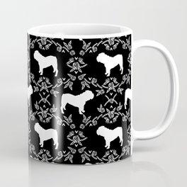 English Bulldog silhouette florals black and white minimal dog breed pattern print gifts bulldogs Coffee Mug