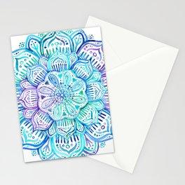 Iridescent Aqua and Purple Watercolor Mandala Stationery Cards