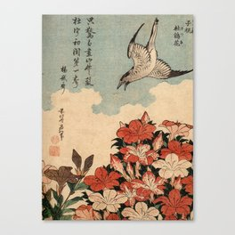 Hokusai Cuckoo and azaleas -hokusai,manga,japan,Katsushika,cuckoo,azaleas,Rhododendron Canvas Print