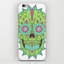 Skull with a floral style iPhone Skin