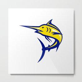 Blue Marlin Jumping Mascot Metal Print