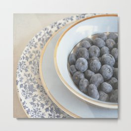 Blueberries in blue and white china bowl. Metal Print