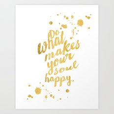 Gold Typography Inspirational Quote Art Print