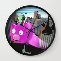 invader zim Wall Clocks featuring Invader Zim by inusualstuff